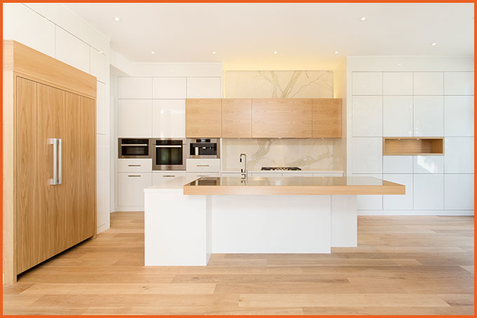You can choose the type of wood, as well as the color, hardware, and layout of the drawers and cabinets.